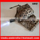 [L012]Leopard umbrella, 3 folding LED umbrella with torch handle,auto open and close umbrella