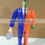 Action figure human coin hold plastic jointed human toy