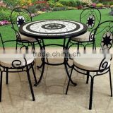 Antique Cast Aluminum Mosaic Table Top Bistro set Patio Furniture