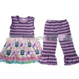 bulk wholesale kids clothing kids clothes children sleeveless purple stripe summer clothes kids cupcake pattern top