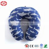 Blue inflated neck pillow printed shark