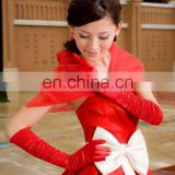 women's Newest fashion Champagne red wedding evening long Full finger bridal gloves Sexy Ruffles satin wedding Hand gloves