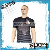 Sublimaiton print 100% polyester men's black compressed dry fit t-shirt