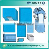 Single Use Nonwoven Surgical Universal drape Pack with Reinforced Surgical Gown