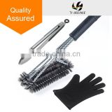 Triple Head Design. Stainless Steel Bristles, 18 Inch Long grill brush with silicone gloves and stainless steel tong set
