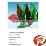 296ml amber or green glass beer bottle with crown cap