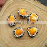 LFD-0015B Wholesale Druzy Shell Loose Bead , Pave Rhinestone Connectors Spacer Beads Jewelry Making
