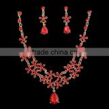 cheap elegance red bridal wedding banquet jewellery set for girls