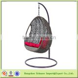 Outdoor Patio Wicker Rattan Swing Chair Hanging Chair Egg-Shaped Pod Chair Hammock with Cushion-FN4108
