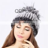 QD80615 2015 Newest Style Russia Knit Real Rex Rabbit Fur Trapper Hat With Silver Fox Fur Balls Hot Sale Korea Woman