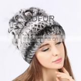QD80614 Free Size Grape Bunches Women Elastic Natural Rex Rabbit fur with Pineapple Knitted Hats