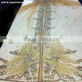 gold beaded moroccan caftan with stone islamic clothing for wedding decoration party decoration(NEX-032)                                                                         Quality Choice