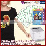 A3 Size Offer Color Plastisol T-Shirt Transfer Paper For Laser