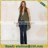 europe style deep v neck chiffon green fluttering cool soft fabric women blouse                                                                         Quality Choice