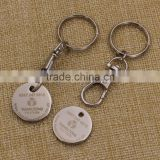 Custom metal laser engraved logo canadian shopping cart token keychain