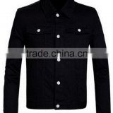 2016 Young men pure black jeans fashion winter jacket