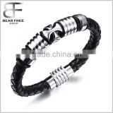 Mens Black Leather Bracelet with Stainless Steel Charms of Cross Genuine Leather Wristband Bangle