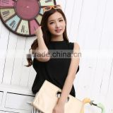 2014 Korean women loose sleeveless black chiffon shirt Women Tops,Fashion dress