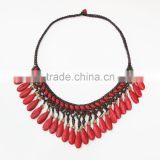 Red Howlite Wax cotton thread with mixed natural stone, Stone necklace WT23