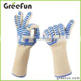 New Product Triple Layered Protection Heat Resistant Cooking Gloves , High Quality Kevlar Fireproof Barbecue Grip Gloves
