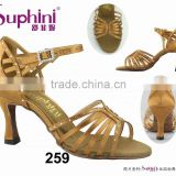 popular multi strap crystal stone satin middle heel comfortable and fashionable ladies latin salsa dance shoes