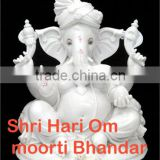 Indian White Stone God Ganesh Idol