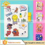 cute cartoon stickers pu leather kids refillable notebook with pen loop