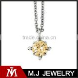 Stainless steel CZ stone flake pendant