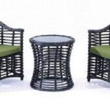 Garden Furniture Single Sofa Side Table Aluminum Frame PE Round Rattan Weave 5cm cushion Pillow Tempered Glass