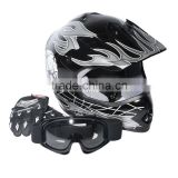 Youth Black/Silver Skull for Dirt Bike for ATV Motocross Helmet Goggles+gloves S M L New