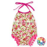 Baby Girls Summer Two Pieces Halter And Shorts Set Pink Flower Bodysuit Clothing Manufacturers Romper Girls