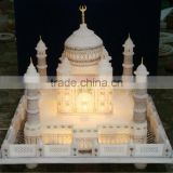 White Marble Taj Mahal Replica With Lighting Handcrafted Showpiece