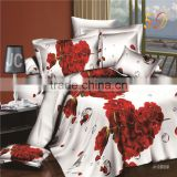 Romantic Heart-Shaped Rose 3D Bedding Set Cotton Bedroom Tetiles Sets Duvet Cover Bed Sheets Pillowcases for Queen Size Beds.