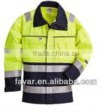 Yellow Anti-static navy Cotton Drill High Viz Fire proof jakcets fire resistant flight jacket