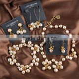 fashion pearl necklace bracelet earring sets, elegant woman peartl jewelry set, high quality costume jewelry