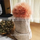 Real Fur Pompom Winter Hats For Women Cashmere Wool Knit Beanie Cap turkey Fur Pom Bobble Hat 2016