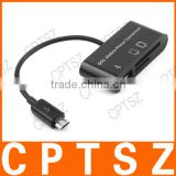 SG-007 3-in-1 TF / SD Card Reader + 1-Port USB 2.0 HUB for OTG Cellphone - Black