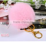 SJ748-01 SJ748 8CM Genuine Rabbit Fur Ball Keychain 2016 Fur Ball Keyring Women Fur Key Keychain Couples Keychain
