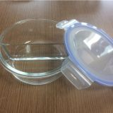 Glass food container with two compartments