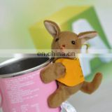 Lovely plush kangaroo toy with magnet wearing t-shirt