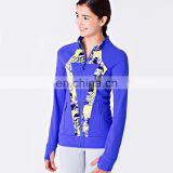 Thick Printing women bule front zip rash guard,winter sport coat