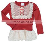 wholesale children long sleeve lace ruffle fall shirt costumes for kids wear boutique remakes