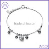 Fashion Jewelry High Quality 925 Sterling Silver Jingle Bell Fancy Girls Charm Anklet
