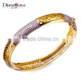 Classic Round Plain Cuff Ladies Fancy Designer 2-Tone Plated CZ New Design Women Bangles