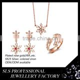 2016 jewelry fashion snow design jewelry sets for ladies fashion gold plated jewelry sets