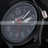 Men's Military Royale Black Dial Fabric Strap Date Sport Quartz Army Watch MR053