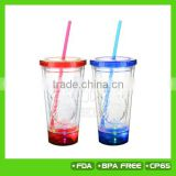 Christmas' new gift! 450ML double wall plastic christmas LED light up tumbler with straw