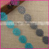 Fashion 2cm Nylon gray embroudery water soluble bridal lace trim for DIY garment accessory