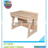 China good quality solid pine wood natural wood color study table with bokshelf for children#SP-T009S