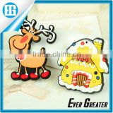 Magnetic refrigerator cute cartoon Santa,plastic PVC cartoon snowman Fridge magnet Christmas